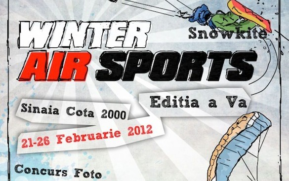 Winter Air Sports Sinaia 2012 – demonstraţii de Snowkite, Speedfly şi salturi din elicopter
